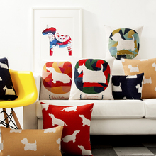 Cartoon Animals  Dogs Geometry Case Home Decorative Pillow Thick Linen Pillowcase Sofa Cushion