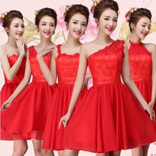 modest girls short red bridesmaid dresses a line one shoulder chiffon flower balls sweetheart neck dress free shipping R3560