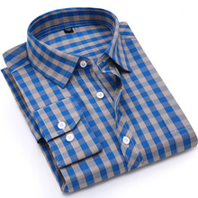 Men Plaid Shirt 100% Cotton 2017 Spring Autumn Casual Long Sleeve Shirt Soft Comfort Slim Fit Styles Brand Man Clothes(China)