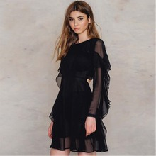 Buy MUXU fashion sexy black dress womens clothing vestidos mujer jurk elbise jurken clothes vestidos mujer long sleeve dress women for $35.41 in AliExpress store