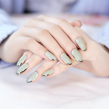 Noble Wedding Fake Nails Grey with Sliver Side False Nails 24pcs Oval Short Full Artificial Nails with Glue Sticker 5 Styles