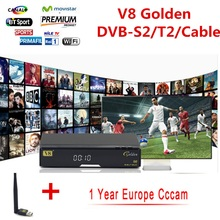Openbox Freesat V8 Golden DVB-S2/T2/cable satellite Decoder USB WIFI support CCcam HD BISS Key Powervu set top box(China)