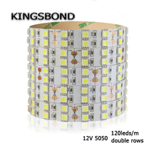 120leds/M Double Row IP20 SMD5050 flexible LED Strip Light DC12V non waterproof for indoor lighting white or warm white(China)