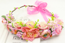 simulation penny flower wreath headband women Rattan simulation flower head festival wedding Ribbon Adjustable girl flower crown(China)