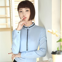 New Arrival Autumn Winter Formal Blouses Business Women Work Wear Blouse Shirts Ladies Blusa Female Tops Clothes Plus Size Blue