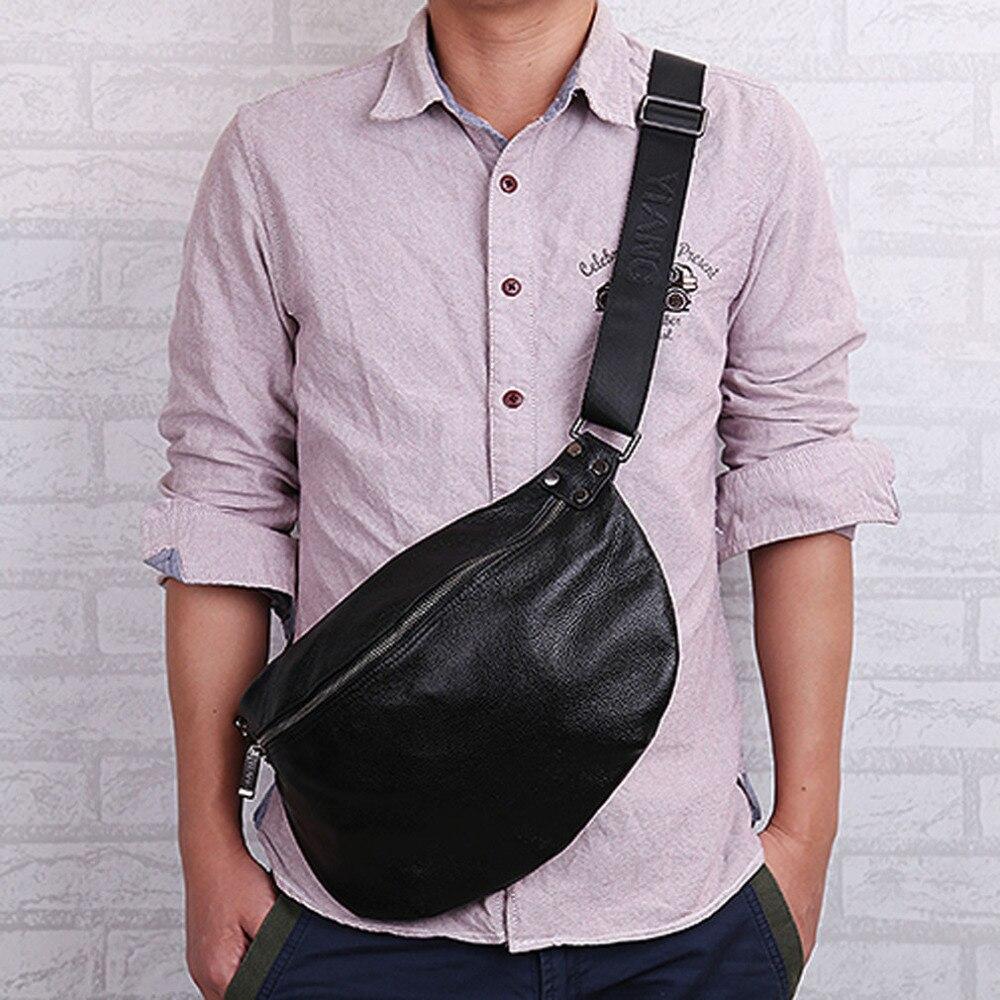Men Genuine Leather Cowhide Vintage Sing Chest Pack Multi-purpose Riding Messenger Shoulder bag Leisure handbags<br><br>Aliexpress