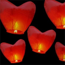 wholesale 10 pieces NEW RED HEART FIRE SKY CHINESE LANTERNS BIRTHDAY WEDDING PARTY(China)