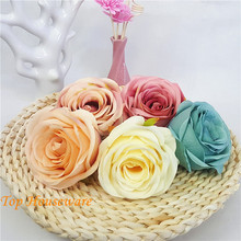 9CM 5ColorArtificial Silk Rose Flower Heads Vintage Oil Painting Rose for DIY Decorative Accessory Wedding Wall Arch Party(China)
