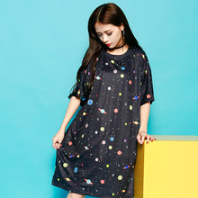 Fashion 2017 Womens Summer Dress Harajuku Sexy Galaxy Dresses Knee-Length Straight Cotton Femme Panda sushi Print Preppy Style