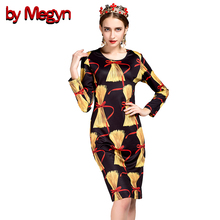 2017 Fall Winter Short Vestidos Long Sleeve O-Neck Women Casual Dress Vintage Cotton Blends by Megyn Logo Printed Dresses DG211