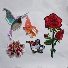 flower and bird patterend new arrive fashion hot melt adhesive applique embroidery patches stripes DIY clothing accessory