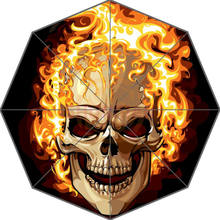Original Personalized Cool Art Skull on Flaming Auto Foldable Umbrella