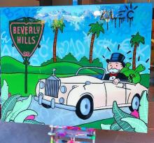Free shipping pop artist Painting Richie Rich Graffiti Money art Alec Monopoly Banksy arts By hand painted no frame x-181
