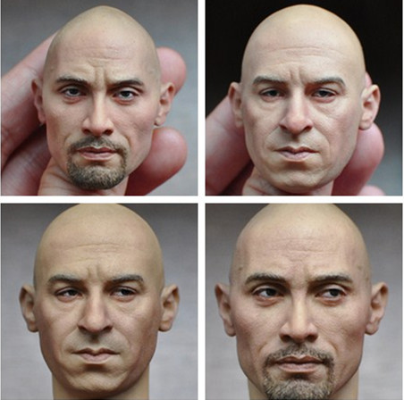 1/6 Scale Movie Fast &amp; Furious Head Sculpt Vin Diesel Dwayne Johnson Head Model for 12 inches Action Figure Collections<br>