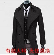 2017 grey black Korean teenage double breasted wool coat men trench jackets mens wool coats overcoats dress winter S - 9XL