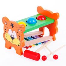 BOHS Dual Functions Tiger Themed Wooden Piano and Pounding and Roll  Children Kids Educational Toys Wooden  DIY
