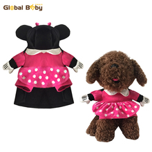 Cute Minnie Style Dog Coat Rose Color Warm Dog Suit Hoodie Costume with Cape