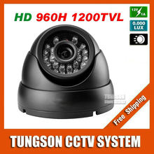 Sony CCD 960H Effio 1200TVL Surveillance 24Infrared LED Indoor Vandal-proof Black Metal Mini Dome Home Security CCTV Camera(China)
