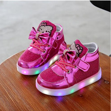 Children Casuals Shoes Hello Kitty Rhinestone  Baby sneaker Girls Boys Sports boots Kids LED Light tenis  Luminous kids trainers