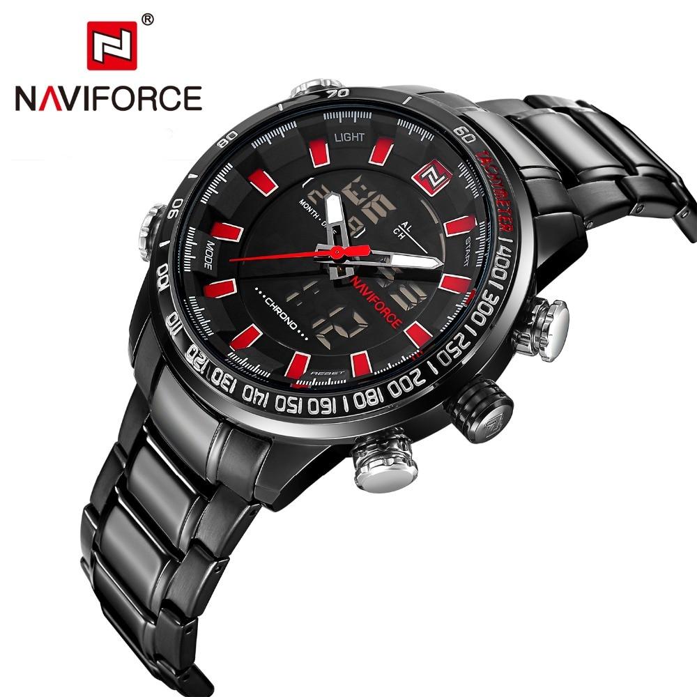 relogio masculino Top Brand Luxury Naviforce Watch Men Stainless steel Analog Digital LED watch Military waterproof clock Male<br><br>Aliexpress
