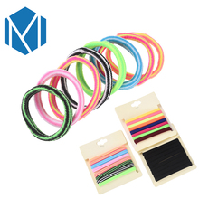 M MISM 8Pcs/Pack Colorful Elastic Hair Bands Accessories Solid Black Basic Women's Hair Ring Scrunchies Stripe Girl Gum Hair Tie(China)