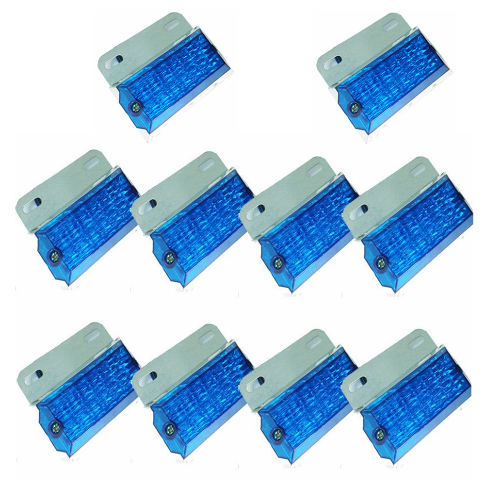CYAN SOIL BAY 10pcs 15 LED Blue LED Side Marker Cab Light Clearance Bulb Truck Bus Trailer Caravan Boat SUV ATV 24V<br>
