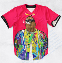 Real AMERICAN USA Size Notorious BIG  Fashion 3D Sublimation Print Custom made Baseball Jersey Plus Size