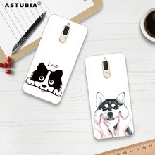 ASTUBIA Cute Dog Case For Huawei Mate 10 Lite Case 5.9 Silicon Hat BullDog Cover For Huawei Nova 2i Case For Honor 9i maimang 6(China)