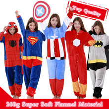 Adult Anime Onesie Cosplay Costume Pajamas Party Pyjamas Women Men Sleepwear Iron Man Captain America Batman Spiderman(China)