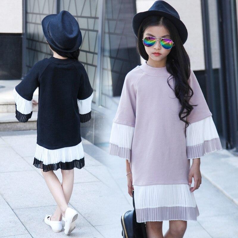 Kids Girls Spring / Autumn 2017 new baby girls pleated dress costume fashion sleeve sweet dress 4/5/6/7/8/9/10/11/12/13/14<br><br>Aliexpress