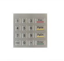 Waterproof vandal-proof 16keys mini stainless steel metal numeric keypad, Rugged number keypad,custom keypad,metal Kiosk keypad