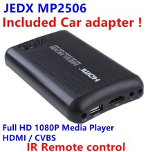 JEDX Protable Mini 2.5 inch SATA Full HD 1080p MKV HDMI AV Car Media Player Center USB OTG SD AVI RMVB RM MP2506-F10+Car adapter