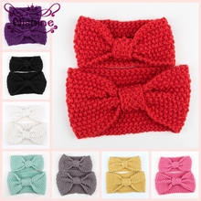 Nishine 2pcs/set 8 Colors Winter Mom and Me Crochet Headband Knitted Knot Women and Kids Matching Headbands Photography Prop(China)