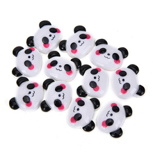 10pcs flat back resin cartoon panda pattern planar resin diy holiday decoration accessories miniature figurines