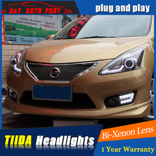 Auto Part Styling For Nissan TIIDA headlights DRL 2011-2015 For Nissan TIIDA LED light bar DRL Q5 bi xenon lens h7 xenon
