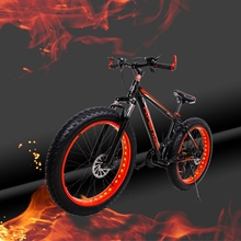 "HighQuality Aluminum Bicycles 26 inches 7 speed 21 speed 26x4.0"" Double disc brakes Mountain Bike Fat bike"