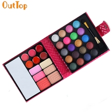 Eye Shadow OutTop Beauty Fashion 1Box 32 Color Portalbe Cosmetic Makeup Palette Shimmer Set Bag with Mirror 160809 Drop Shipping
