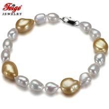 Feige Special offer Baroque White/Gold color Freshwater Pearl Strand Bracelets & Bangles for women Fine Pearl Jewelry Pulseras(China)