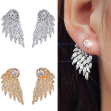 ES101 Crystal 3D Angel Wings Stud Earrings Inlaid Alloy Ear Jewelry Party Earring Gothic Feather Brincos Promotion(China)