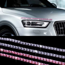 CITALL 2PCS Car SUV Cubic Crystal Lashes Headlight Eyelashes Eyeliner Sticker Acc Decor For BMW E46 E90 Audi A4 A6 VW Golf Kia