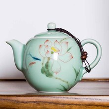 Celadon hand-painted teapot ceramic purple sand Kung Fu filter tea pot handmade home appliances(China)