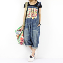 2016 women's new spring and summer Loose hole plus size casual bib pants hip-hop 7 Jean jumpsuit(China)