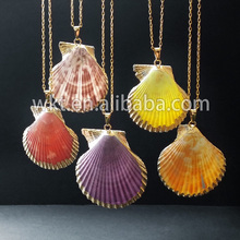 Newest!Natural colorful sea shell necklace with 24K gold plated on edged WT-N284