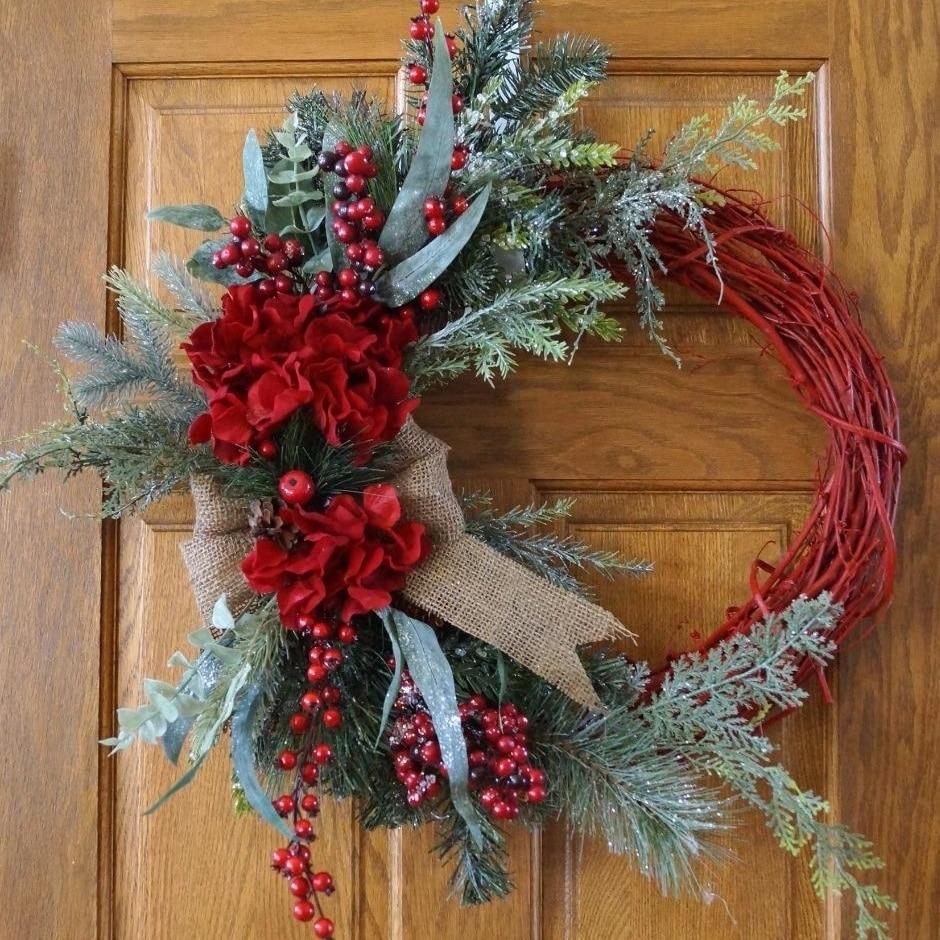 Christmas wreath, Red Rustic Christmas Wreath, Christmas Decoration (1)