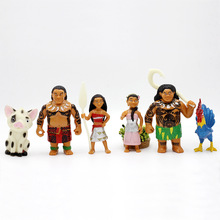 6PCS /set Moana Princess Set Figurine 2017 NEW Moana Maui Waialik Heihei Action Figures Toy Decoration gift Collection(China)