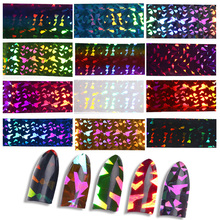 Blueness Glitter 12 Rolls 3D Nails Art Decorations Laser Rainbow Design Manicure DIY UV Gel Tin Foil Stickers For Nails Decals(China)