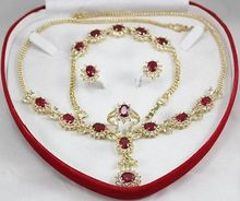 "Nobility Quartz crystal Natural Rose Red zircon necklace 18 ""bracelet 7.5"" Earring Ring + Grad"