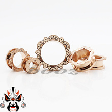 2016 2pcs pair ear plugs piercing tunnel stainless steel body jewelry flash rose gold ear gagues design