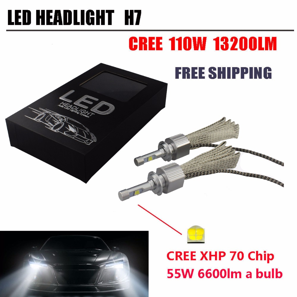 13200LM Super Bright Fanless 12V 24V 110W H7 Car CRE-E XHP70 Chips LED HeadLight Bulbs Xenon White 6000K<br><br>Aliexpress