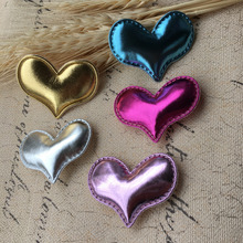 Wholesale 50PCS/Lot Bling PU Fabric Heart Shape Button Patch Stickers Handmade Craft Toy Doll for Princess Girl Hair Jewelry DIY(China)